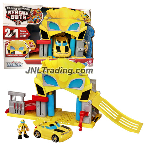 Playskool Year 2011 Transformers Rescue Bots Series Playset - BUMBLE RESCUE GARAGE with Bumblebee Vehicle and Axel Frazier Figure