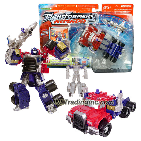 Hasbro Year 2002 Transformers Robots In Disguise Armada Series Deluxe Class 6 Inch Tall Robot Action Figures - OPTIMUS PRIME (Vehicle Mode: Rig Truck) with Over-Run Mini-Con Figure (Alt. Mode: Jet Plane and Blaster) Plus Bonus Comic Book
