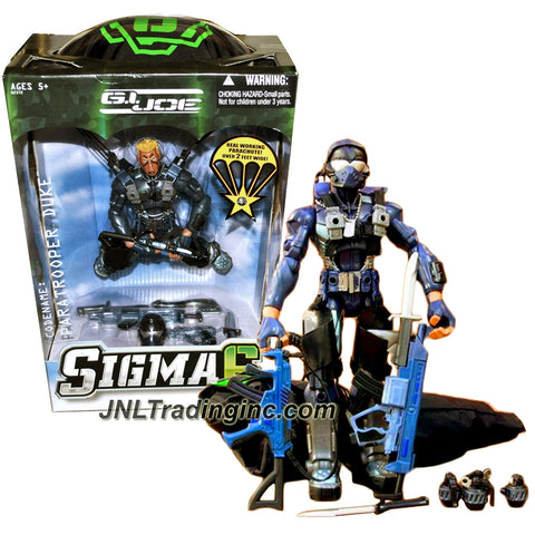 Hasbro Year 2006 G.I. JOE Sigma 6 Series 8 Inch Tall Action Figure - PARATROOPER DUKE with Helmet, 2 Assault Rifles, 2 Pistols, 2 Battke Knife, Hatchet and Real Working Parachute
