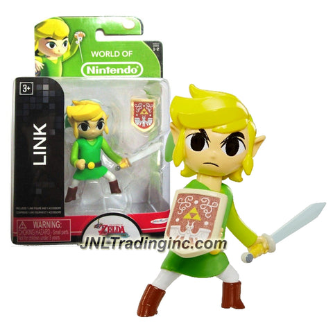 "Jakks Pacific Year 2015 World of Nintendo ""The Legend of Zelda - Windwaker"" Series 2-1/2 Inch Tall Mini Figure - LINK with Sword and Removable Shield"