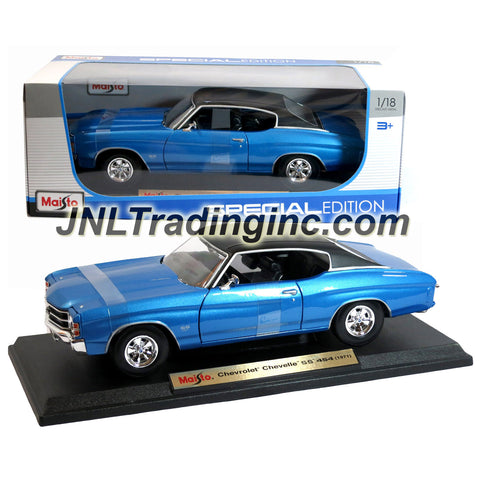 "Maisto Special Edition Series 1:18 Scale Die Cast Car -  Blue Classic Hardtop Sports Coupe 1971 Chevrolet Chevelle SS 454 with Base (Dim:10""x4""x3"")"