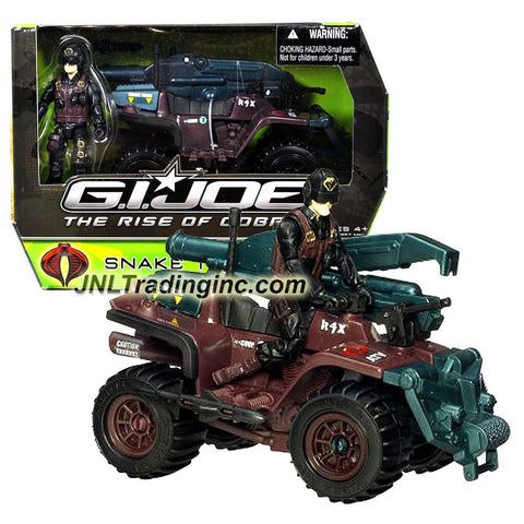 "Hasbro Year 2009 G.I. Joe Movie Series ""The Rise of Cobra"" 4 Inch Tall Action Figure Vehicle Set - SNAKE TRAX A.T.V with 2 Side Missiles and Missile Launcher with 1 Missile Plus SCRAP-IRON Figure"