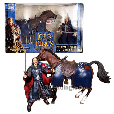 Year 2003 The Lord of the Rings The Return of the Kings Deluxe Horse and Rider Set - ARAGORN with BREGO