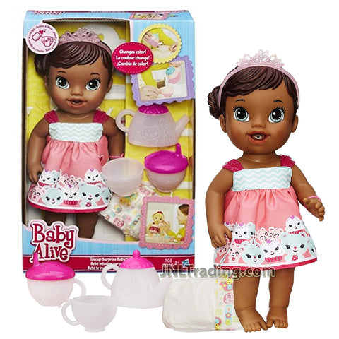 Year 2014 Baby Alive Series 12 Inch Doll Set - Teacup Surprise Baby (African American Version) with Tiara, Teapot, Cup. Sippy Cup and Diaper