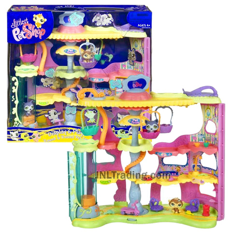 Year 2007 Littlest Pet Shop LPS Display and Play Series Playset - ROUND & ROUND PET TOWN with Siberian Husky and Chimpanzee