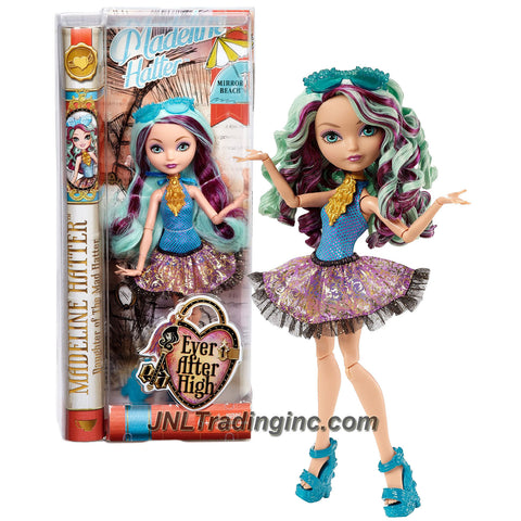 Mattel Year 2014 Ever After High Mirror Beach Series 10 Inch Doll - Daughter of The Mad Hatter MADELINE HATTER (CLC67) with Sunglasses and Necklace