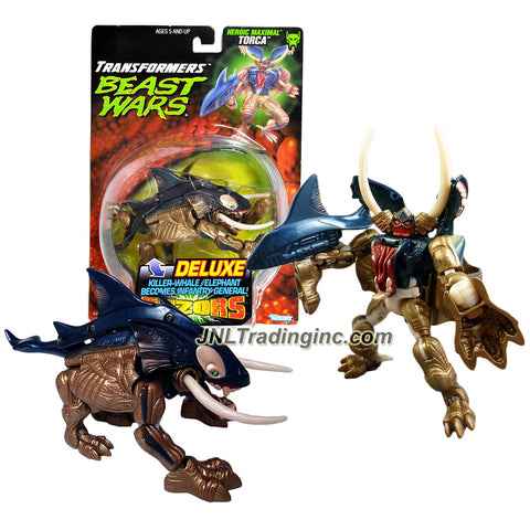 Transformer Year 1998 Beast Wars Fuzors Series Deluxe Class 6 Inch Tall Figure - Heroic Maximal Infantry General TORCA with Water Shooting Feature (Beast Mode: Killer Whale/Elephant)