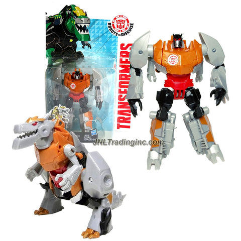 Hasbro Year 2014 Transformers Robots in Disguise Animation Series Deluxe Class 5 Inch Tall Robot Action Figure - Autobot Gold Armor GRIMLOCK (Beast Mode: T-Rex Dinosaur)