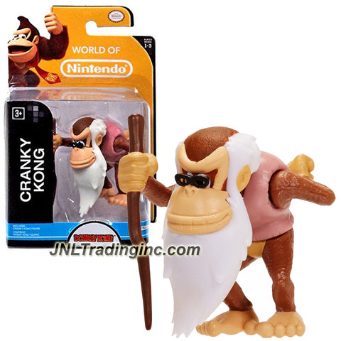 "Jakks Pacific Year 2014 World of Nintendo ""Donkey Kong"" Series 2 Inch Tall Mini Figure - CRANKY KONG with Walking Stick"