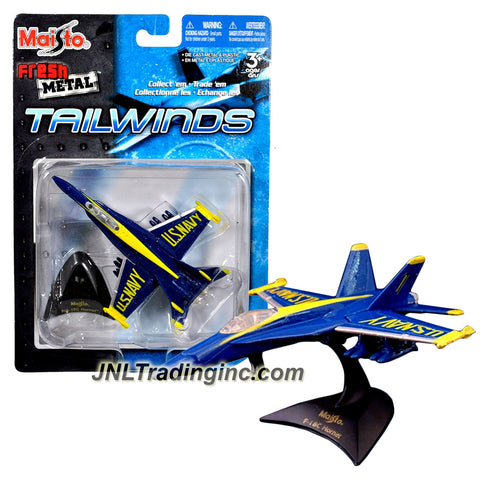 Maisto Adventure Tailwinds Series 1:120 Scale Die Cast Military Aircraft - US Navy Blue Angel  Fighter Jet (Ground and Air) F/A-18C Hornet with Base