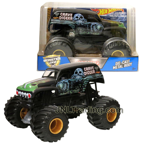 Hot Wheels Year 2017 Monster Jam 1:24 Scale Die Cast Metal Body Official Monster Truck Series - GRAVE DIGGER DWP13 with Monster Tires, Working Suspension and 4 Wheel Steering