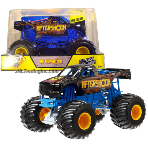 "Hot Wheels Year 2014 Monster Jam 1:24 Scale Die Cast Metal Body Official Monster Truck Series #CCB14 - AFTERSHOCK with Monster Tires, Working Suspension and 4 Wheel Steering (Dimension : 7"" L x 5-1/2"" W x 4-1/2"" H)"