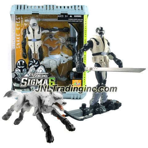 "Hasbro Year 2006 G.I. JOE ""Sigma 6"" Series 8 Inch Tall Action Figure Set - Ninja Commando SNAKE EYES with Timber the Wolf Plus Permafrost Sled, Thaw Missile, Tonfa Sword and 3 Battle Stars"