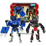 Transformer Year 2009 Revenge of the Fallen Exclusive 2 Pack Deluxe Class 6 Inch Tall Figure Set - SUPER TUNER THROWDOWN with BLOWPIPE (Pick-Up Truck) and SIDEWAYS (Sports Car)