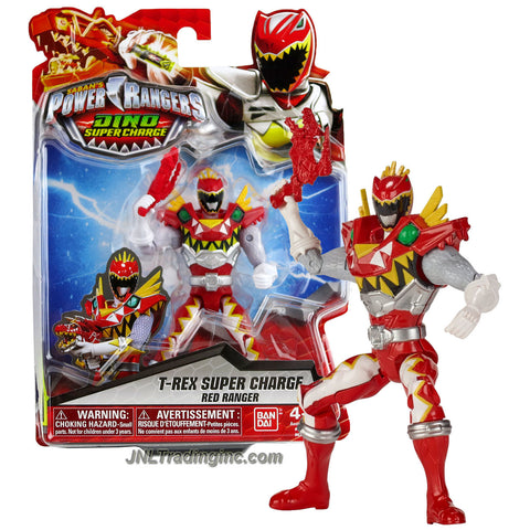 Bandai Year 2015 Saban's Power Rangers Dino Super Charge Series 5 Inch Tall Action Figure : T-REX SUPER CHARGE RED RANGER with Blaster