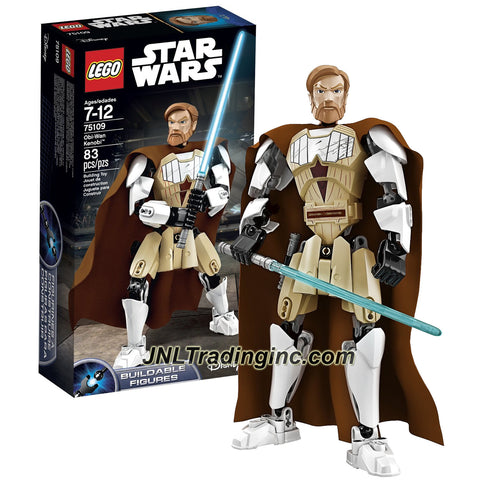Lego Year 2015 Star Wars Series 10 Inch Tall Figure Set #75109 : OBI-WAN KENOBI with Clone Armor, Fabric Cape and Blue Lightsaber (Total Pieces: 83)