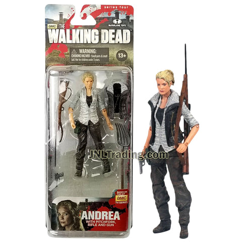Year 2013 AMC TV Series Walking Dead 4-1/2 Inch Tall Figure - ANDREA with Pitchfork, Rifle, Removable Vest and Gun