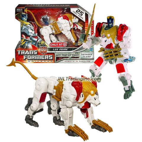 Hasbro Year 2009 Transformers UNIVERSE Beast Wars Series Exclusive Voyager Class 7 Inch Tall Robot Action Figure - Maximal White LEO PRIME with Tail that Becomes Whip and Snap Out Robo-Shredder Claws Plus Cyber Planet Key (Beast Mode: Lion)