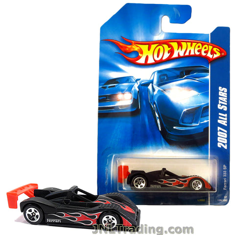 Hot Wheels Year 2007 All Stars Series 1:64 Scale Die Cast Car Set #139 - Black Sports Car FERRARI 333 SP with Red Spoiler and Flame Deco L3092