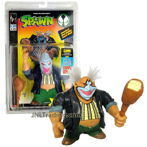 Year 1994 McFarlane Toys Spawn Series 5 Inch Tall Figure - CLOWN with Head Changeable to Violator Monster Head, Turkey Leg Club and Special Edition Comic Book