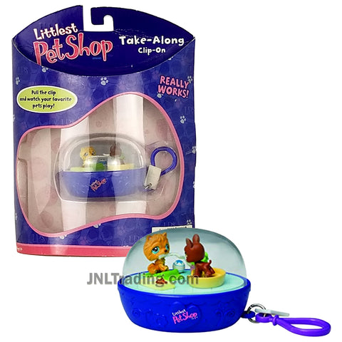 Year 2007 Littlest Pet Shop LPS Take-Along Clip-On Keychain : Chow Chow and Boxer Puppy Dog