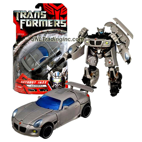 Hasbro Year 2006 Transformers Movie Series Deluxe Class 6 Inch Tall Robot Action Figure - Autobot JAZZ with Telescoping Sword and Spoiler Shield (Vehicle Mode : Silver Pontiac Solstice)