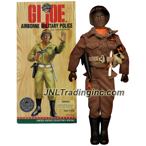 Hasbro Year 1996 G.I. JOE Classic Collection Series 12 Inch Tall Soldier Figure - AIRBORNE MILITARY POLICE (African American) with MP Arm Band, Belt with Holster and Pistol, Machine Gun, Billy Club, Jump Boots, Canteen with Holder, and a Communication's Backpack with Extendable Phone