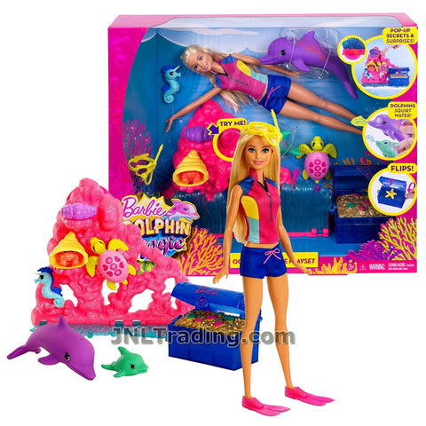 Barbie Year 2016 Dolphin Magic Series 12 Inch Doll Set - OCEAN TREASURE PLAYSET FCJ29 with Barbie Doll, Dolphins, Turtle, Seahorse, Hermit Crab, Chest and Corals