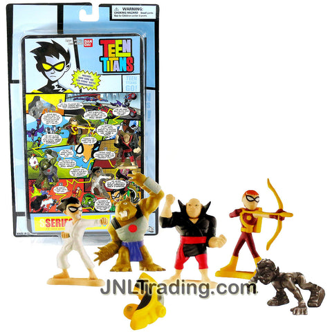 Bandai Year 2005 DC Comics Teen Titans Go! Series 1 Page 3 Mini 4 Pack 1-1/2 Inch Tall Figure Set - MARTIAL ARTS ROBIN, BEAR, KATAROU and SPEEDY Plus Beast Boy Dice and Titans Communicator Part 3