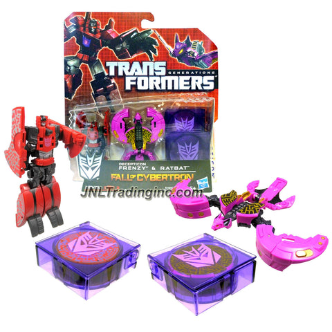"Hasbro Year 2012 Transformers Generations ""Fall of Cybertron"" Series 2 Pack Legends Class 3 Inch Robot Action Figure - DECEPTICON FRENZY and RATBAT Plus 2 Case for Data Disc Mode"