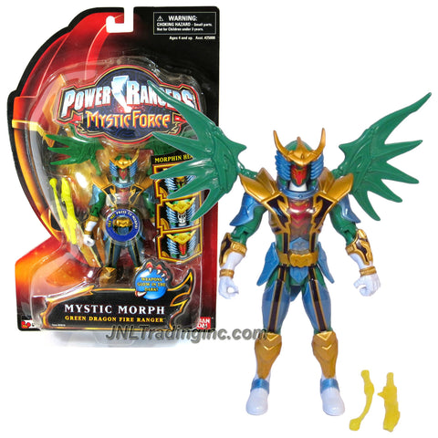 Bandai Year 2006 Power Rangers Mystic Force Series 6 Inch Tall Action Figure - MYSTIC MORPH GREEN DRAGON FIRE RANGER with Morphin Heads, Detachable Wings and 2 Swords