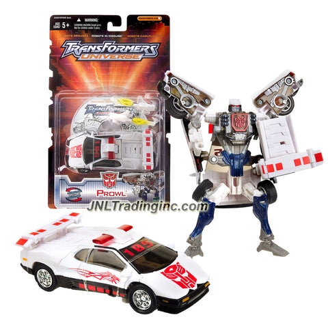 Hasbro Year 2003 Transformers UNIVERSE Series Exclusive Deluxe Class 6 Inch Tall Robot Action Figure - Autobot PROWL with 2 Shoulder Mounted Rocket Launcher Plus Bonus CD Movie for PC (Vehicle Mode: Police Car)