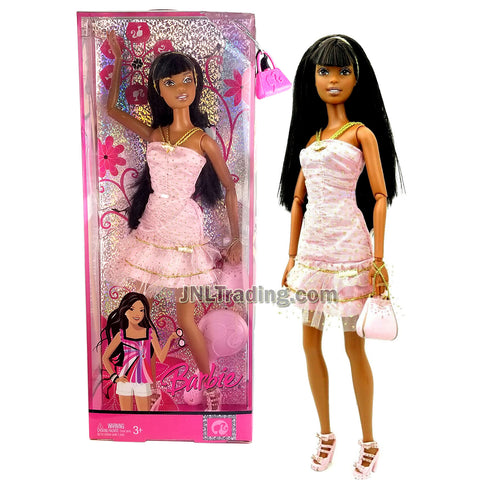 Year 2007 Barbie Fashion Fever Series 12 Inch Doll Set - NIKKI L9540 in Pink Lace Layer Dress with Pink Hairband, Purse and Hairbrush