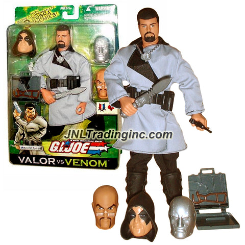 Hasbro Year 2003 GI JOE A Real American Hero Valor Vs Venom 12 Inch Tall Action Figure - AGENT FACES with 3 Faces (Dr. Mindbender, Zartan and Destro), Jacket, Briefcase with Weapon, Belt, Boots, Pants, Knife and Cobra Medallion