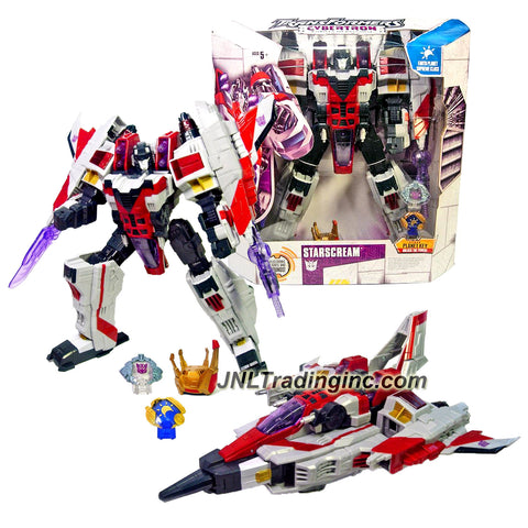 Hasbro Year 2005 Transformers Cybertron Series Supreme Class 13 Inch Tall Robot Action Figure with Lights and Sounds - Decepticon STARSCREAM with Snap Out Energon Blade, Arm Mounted Null Ray Cannon, 1 Missile, Crown and 2 Cyber Planet Keys (Vehicle Mode: Cybertronian Jet)