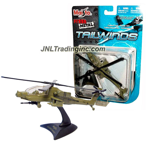 Maisto Fresh Metal Tailwinds 1:112 Scale Die Cast United States Military Aircraft : U.S. Army Attack Helicopter AH-64A Apache with Display Base