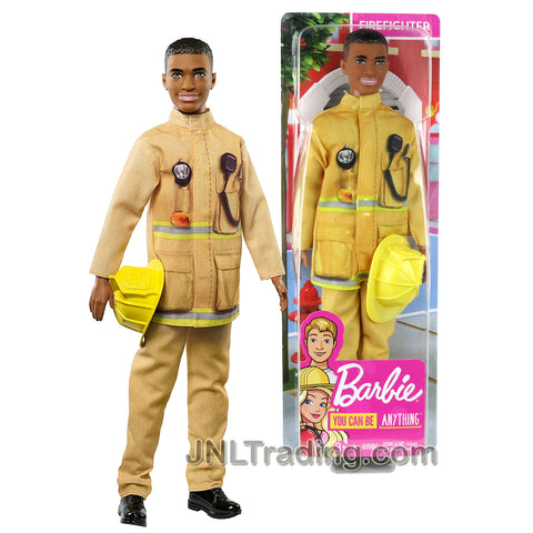 Year 2018 Barbie Career You Can Be Anything Series 12 Inch Doll - FIREFIGHTER in Yellow Uniform with Helmet