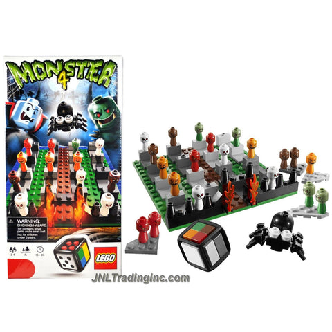 Lego Year 2010 Board Game Set #3837 - MONSTER 4 with 1 Buildable LEGO Dice, 1 Rule Booklet and 1 Instruction Booklet (Total Pieces: 141)