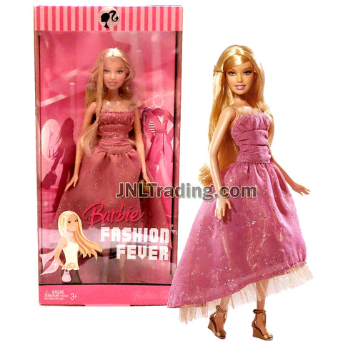 Year 2007 Barbie Fashion Fever Series 12 Inch Doll Set - BARBIE in Elegant Pink Dress with Heart Shaped Purse and High Heel Shoes