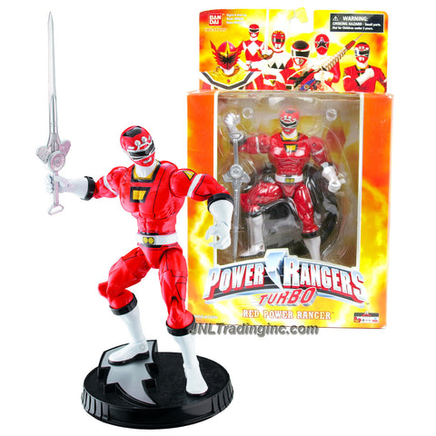 Bandai Year 2006 Power Rangers Creation Collector Series 7 Inch Tall Action Figure - TURBO RED POWER RANGER with Sword and Display Base