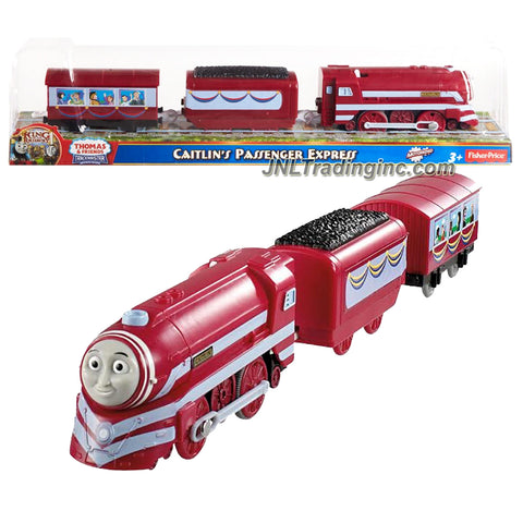 "Fisher Price Year 2013 Thomas and Friends As Seen On ""King of the Railway"" DVD Series Trackmaster Motorized Railway Battery Powered Tank Engine 3 Pack Train Set - CAITLIN'S PASSENGER EXPRESS (Y3348) with Coal Car and Passenger Car"