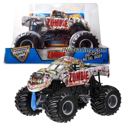 Hot Wheels Year 2016 Monster Jam 1:24 Scale Die Cast Metal Body Official Truck - ZOMBIE (BGH24) with Monster Tires, Working Suspension and 4 Wheel Steering