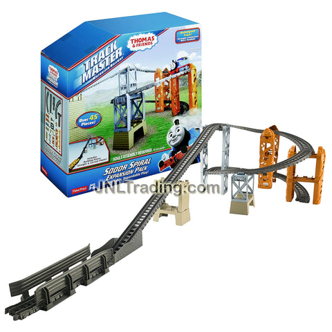 Fisher Price Year 2014 Thomas and Friends Trackmaster Series Track Set - SODOR SPIRAL EXPANSION PACK with Building Risers, Straight and Curved Tracks