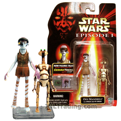 Star Wars Year 1998 The Phantom Menace Series 3-1/2 Inch Tall Figure - ODY MANDRELL with Otoga 222 Pit Droid and CommTech Chip