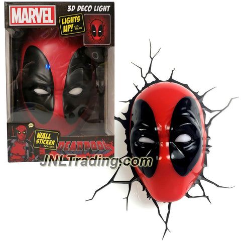 3DLightFX Marvel Deadpool Series Battery Operated 8 Inch Tall 3D Deco Night Light - DEADPOOL MASK with Light Up LED Bulbs and Crack Sticker