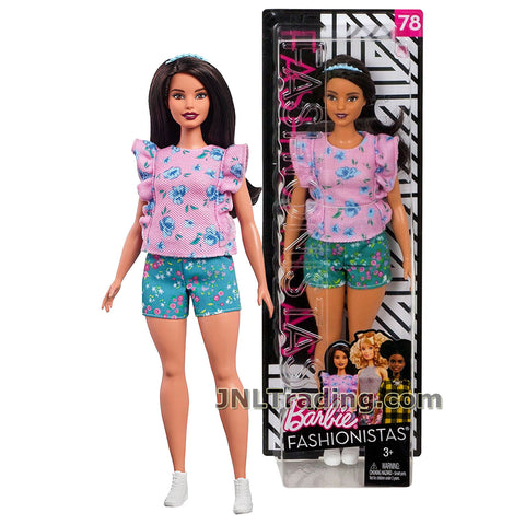Barbie Year 2017 Fashionistas Series 12 Inch Doll #78 - Curvy Hispanic BARBIE FJF43 in Pink Floral Frills Tops and Teal Shorts with Hairband