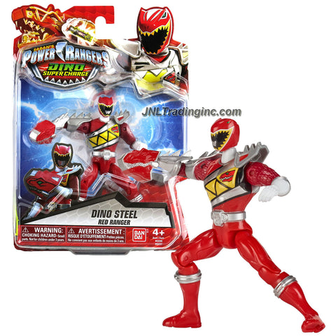 Bandai Year 2015 Saban's Power Rangers Dino Super Charge Series 5 Inch Tall Action Figure - Dino Steel RED RANGER aka Tyler with T-Rex Smasher
