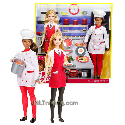 Year 2016 Barbie Career You Can Be Anything Series 2 Pack 12 Inch Doll - Hispanic CHEF with Pot and Ladle Plus Caucasian WAITRESS with Plate and Tray