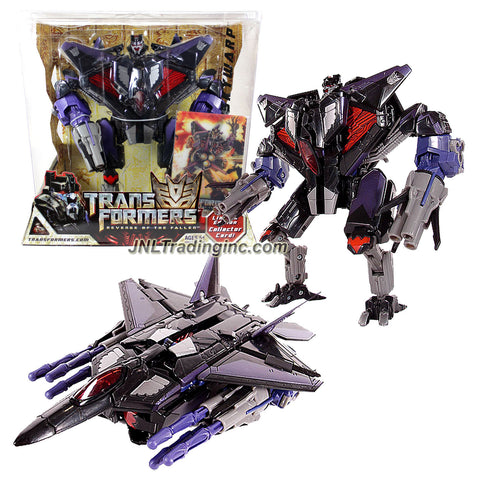 "Hasbro Year 2008 Transformers Movie Series 2 ""Revenge of the Fallen"" Exclusive Voyager Class 7 Inch Tall Robot Action Figure - Decepticon SKYWARP with 2 Missile Launchers and 6 Firing Missiles Plus Bonus Limited Edition Collector Card (Vehicle Mode: F-22 Raptor)"