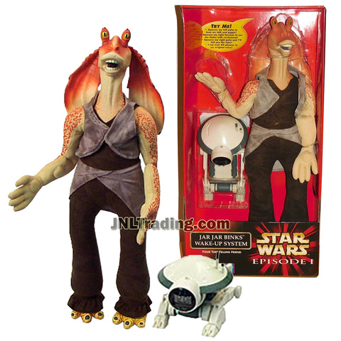 Star Wars Year 1999 Episode 1 The Phantom Menace Series 22 Inch Tall Electronic Figure Set - JAR JAR BINKS WAKE-UP SYSTEM with Pit Droid Time Piece